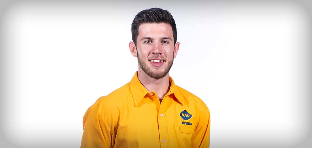 Image of RAC Arena usher in a yellow uniform