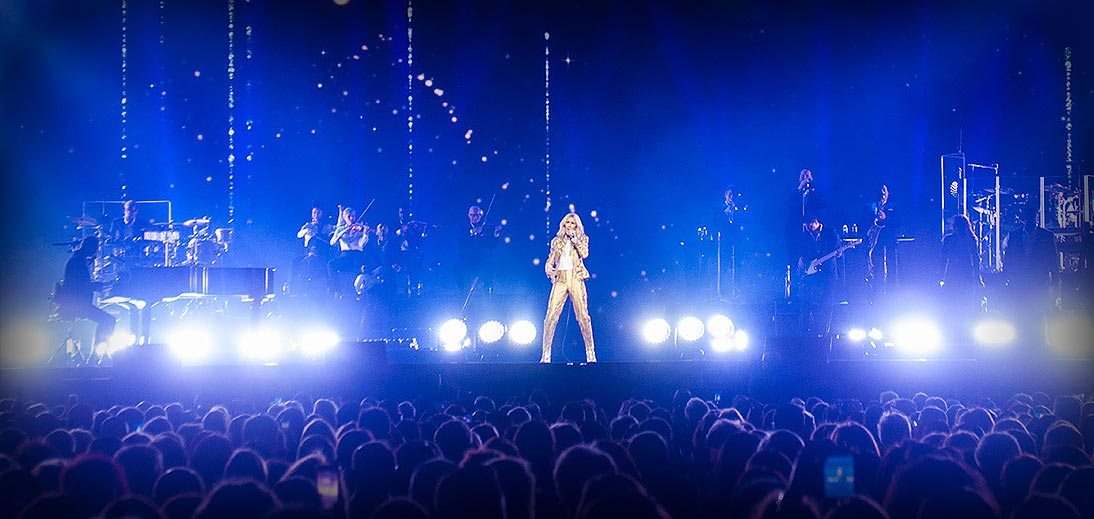 Image of Celine Dion performing on stage at RAC Arena